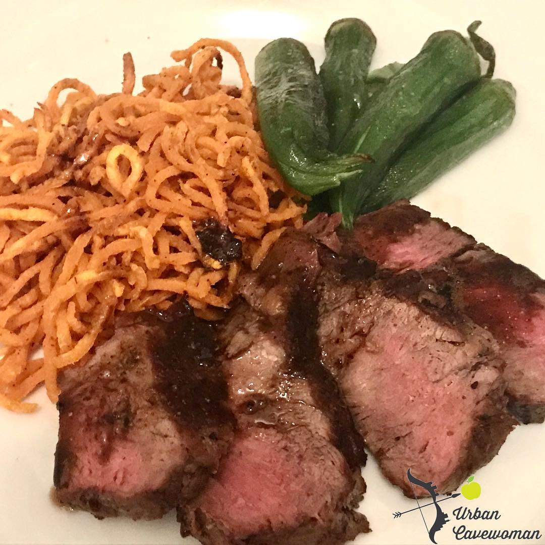 Steak with sweet potato noodles and oven baked okra paleohellip